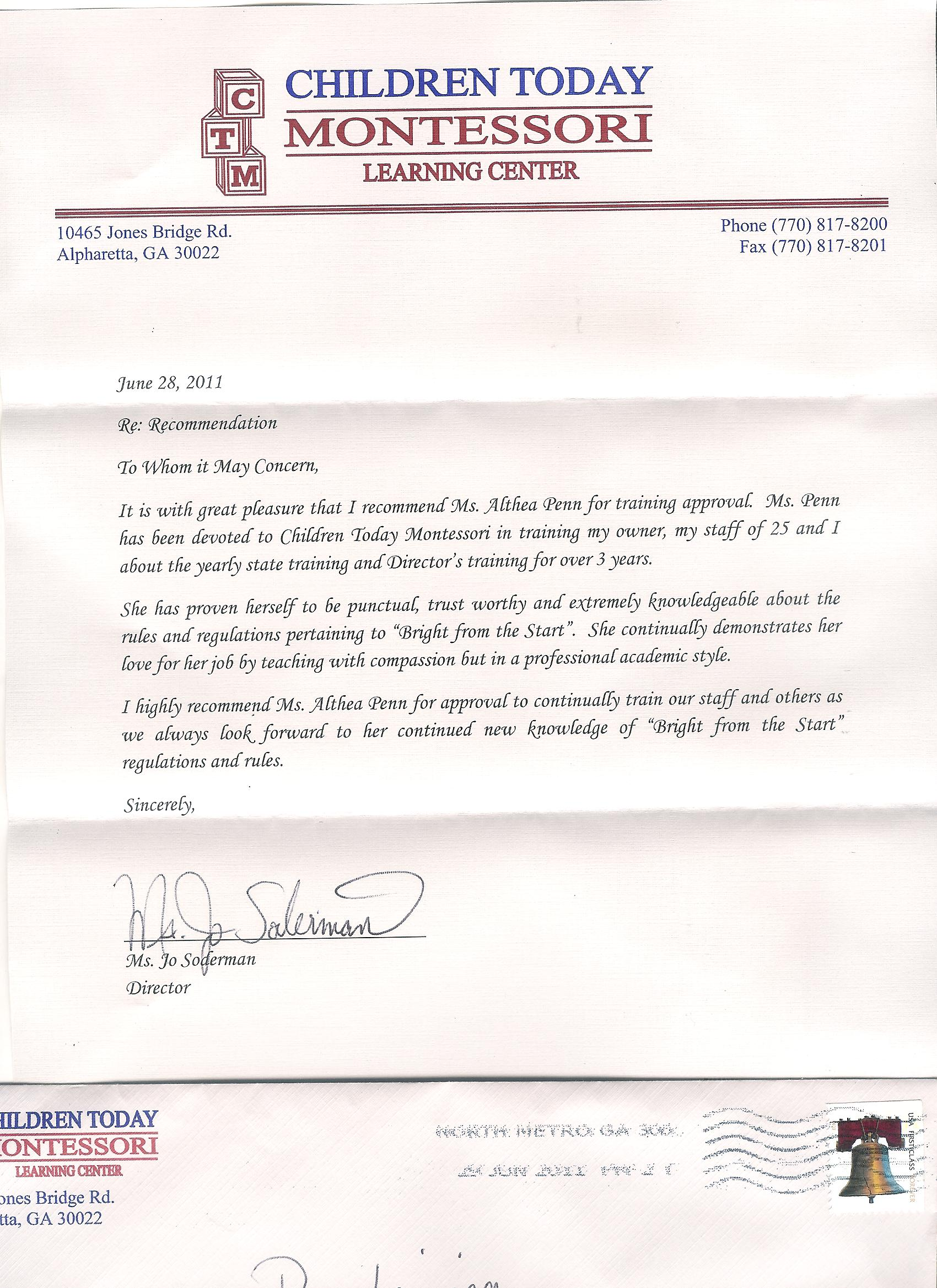 Letter Of Recommendation Teacher Preschool Teacher Recommendation